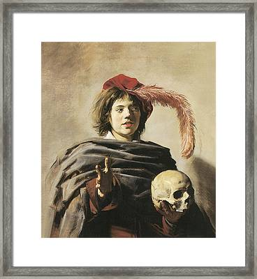 Young Man With A Skull Framed Print by Frans Hals