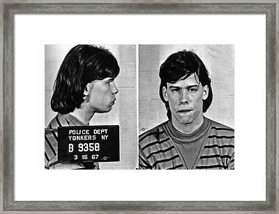 Young Steven Tyler Mug Shot 1963 Pencil Photograph Black And White Framed Print by Tony Rubino