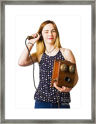 Young Telephonist Phoning Using Old Vintage Phone Framed Print by Jorgo Photography - Wall Art Gallery
