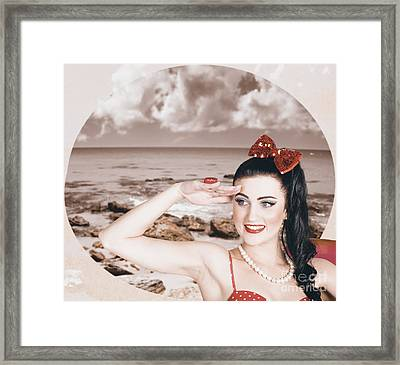 Young Vintage Styled Female Wearing Retro Swimwear Framed Print by Jorgo Photography - Wall Art Gallery