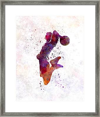 Young Woman Basketball Player 01 In Watercolor Framed Print by Pablo Romero