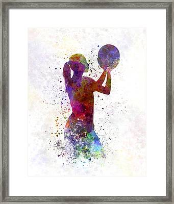 Young Woman Basketball Player 03 In Watercolor Framed Print by Pablo Romero