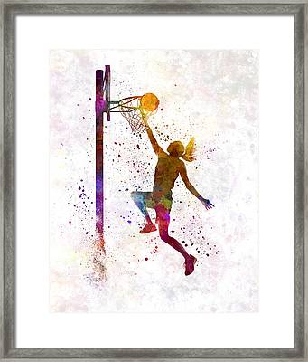 Young Woman Basketball Player 04 In Watercolor Framed Print by Pablo Romero