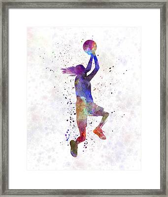 Young Woman Basketball Player 05 In Watercolor Framed Print by Pablo Romero