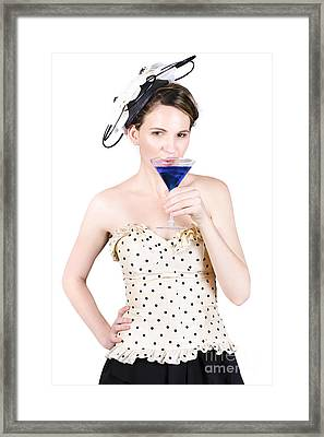 Young Woman Drinking Alcoholic Beverage Framed Print by Jorgo Photography - Wall Art Gallery