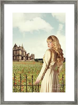Young Woman In English Countryside Framed Print by Amanda And Christopher Elwell