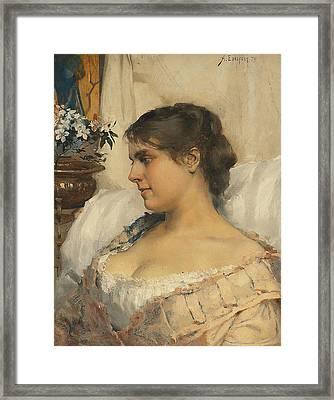 Young Woman In Her Boudoir Framed Print by Albert Edelfelt