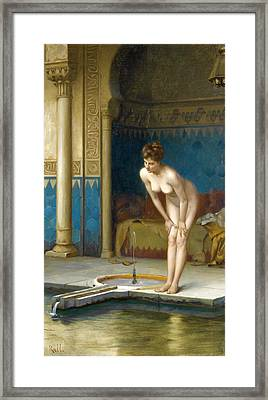 Young Woman In The Bath Framed Print by Theodoros Rallis