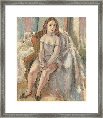 Young Woman In White Chemise Framed Print by Jules Pascin