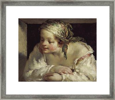 Young Woman Framed Print by Jean Francois Millet