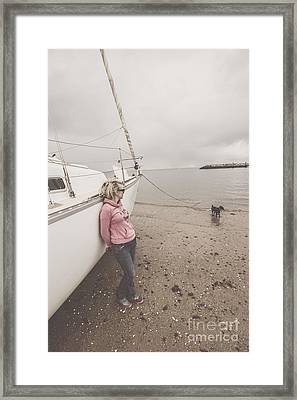 Young Woman Leaning Against A Luxury Yacht Framed Print by Jorgo Photography - Wall Art Gallery
