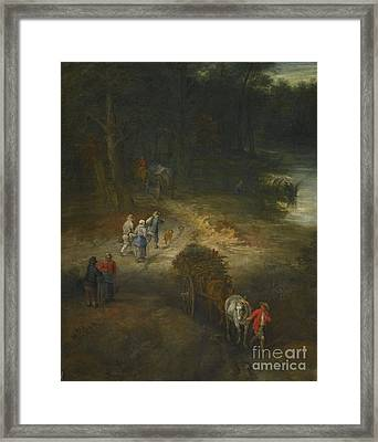 Younger A Wooded Landscape With Traveller Framed Print by Jan Breughel
