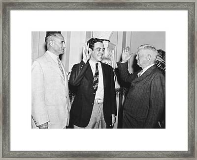 Youngest Salon Takes Oath Framed Print by Underwood Archives