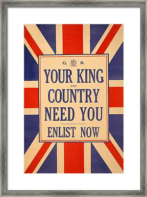 Your King And Country Need You Framed Print by English School