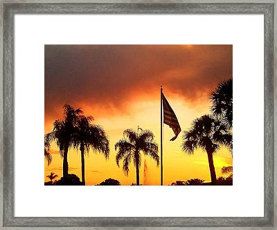 Proud Palm Trees N Old Glory Framed Print by Judith Asmus Hill
