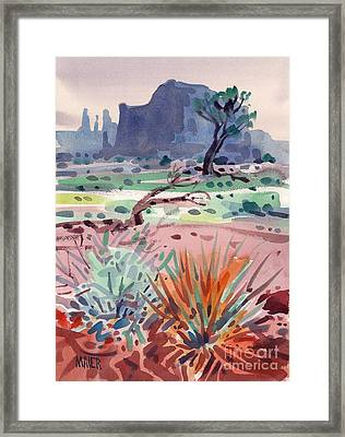 Yucca And Buttes Framed Print by Donald Maier