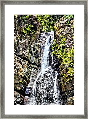 Yunque Waterfall Framed Print by Carey Chen