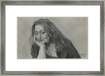 Zaha Hadid - Iraqi-british Architect - 1950 - 2016    Framed Print by Daniil Yakubovich