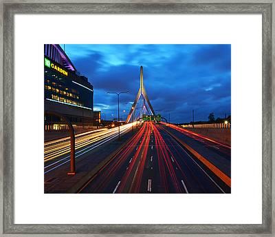 Zakim Bridge And Td Garden Boston Ma Framed Print by Toby McGuire