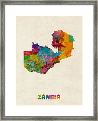 Zambia Watercolor Map Framed Print by Michael Tompsett