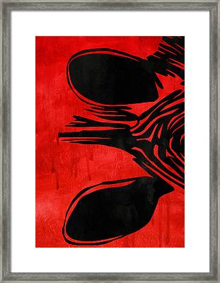 Zebra Animal Decorative Red Poster 8 - By Diana Van Framed Print by Diana Van