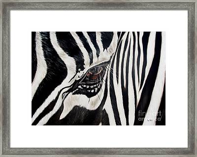 Zebra Eye Framed Print by Ilse Kleyn