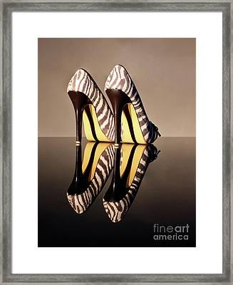 Zebra Print Stiletto Framed Print by Terri Waters