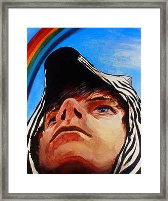 Zebras Always Look For Rainbows Framed Print by Rene Capone