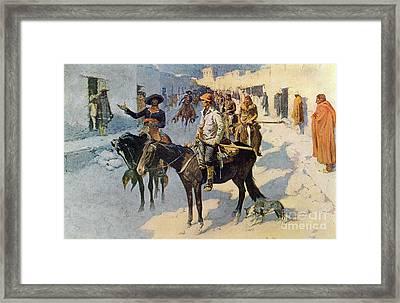 Zebulon Pike Entering Santa Fe Framed Print by Frederic Remington