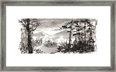 Zen Ink Landscape 2 Framed Print by Sean Seal