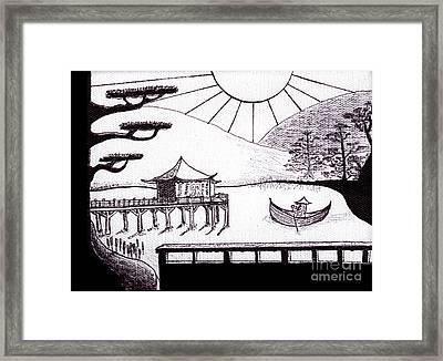 Zen Lake Original Black Ink On White Canvas By Ricardos Framed Print by Ricardos Creations