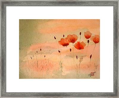 Zen Poppies Framed Print by Arlene  Wright-Correll