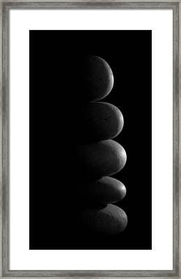 Zen Stones In The Dark Framed Print by Marco Oliveira