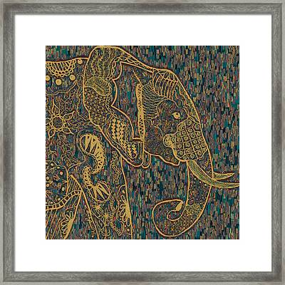 Zentangle Elephant-oil Gold Framed Print by Becky Herrera