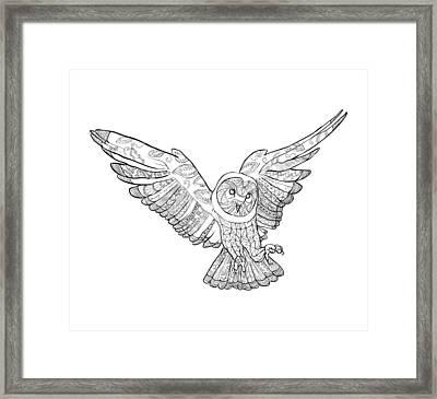 Zentangle Owl In Flight Framed Print by Cindy Elsharouni