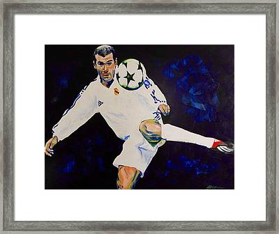 Zinedine Zidane Painting Framed Print by Scott Strachan