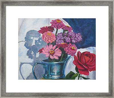 Zinnias And Rose In The Eveing Light  Framed Print by Judy Loper