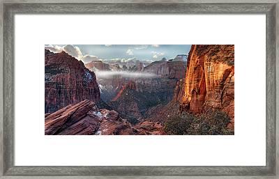 Zion Canyon Grandeur Framed Print by Leland D Howard