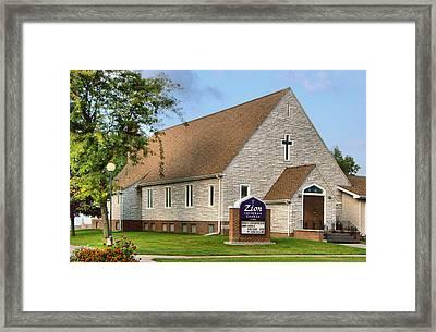 Zion Lutheran Church Of Ainsworth, Nebraska Framed Print by Josephine Buschman
