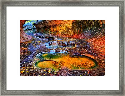 Zion Subway Falls Framed Print by Greg Norrell