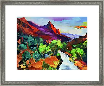Zion - The Watchman And The Virgin River Vista Framed Print by Elise Palmigiani