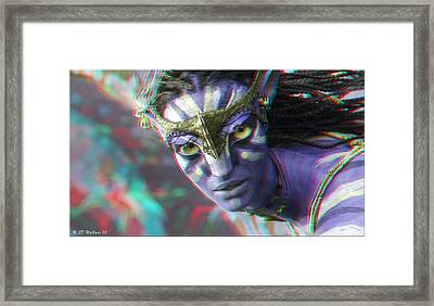 Zoe Saldana - Neytiri - Use Red And Cyan 3d Glasses Framed Print by Brian Wallace
