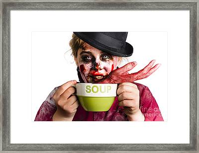 Zombie Woman Eating Hand Soup Framed Print by Jorgo Photography - Wall Art Gallery