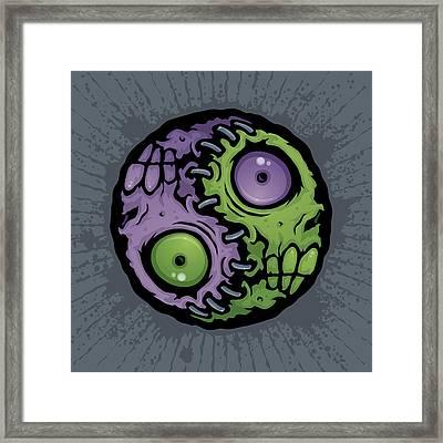 Zombie Yin-yang Framed Print by John Schwegel