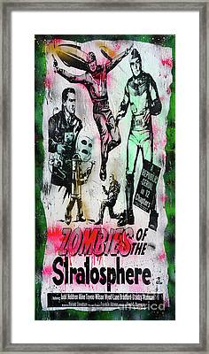 Zombies Of The Stratosphere Framed Print by Jd Kline