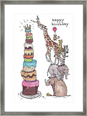 Zoo Animals Happy Birthday Card Framed Print by Katrina Davis