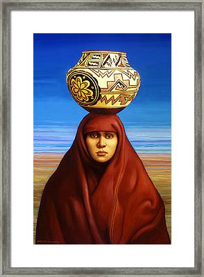 Zuni Woman Framed Print by Jane Whiting Chrzanoska