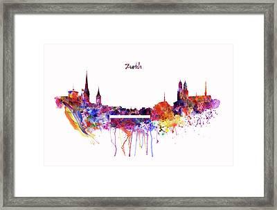 Zurich Skyline Framed Print by Marian Voicu