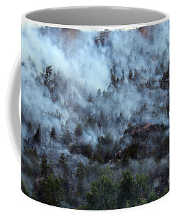 Coffee Mug featuring the photograph A Smoky Slope On White Draw Fire by Bill Gabbert