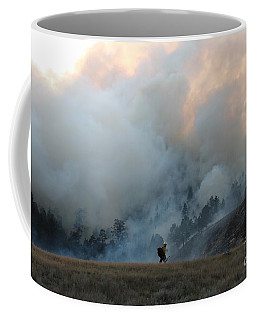 Coffee Mug featuring the photograph A Solitary Firefighter On The White Draw Fire by Bill Gabbert